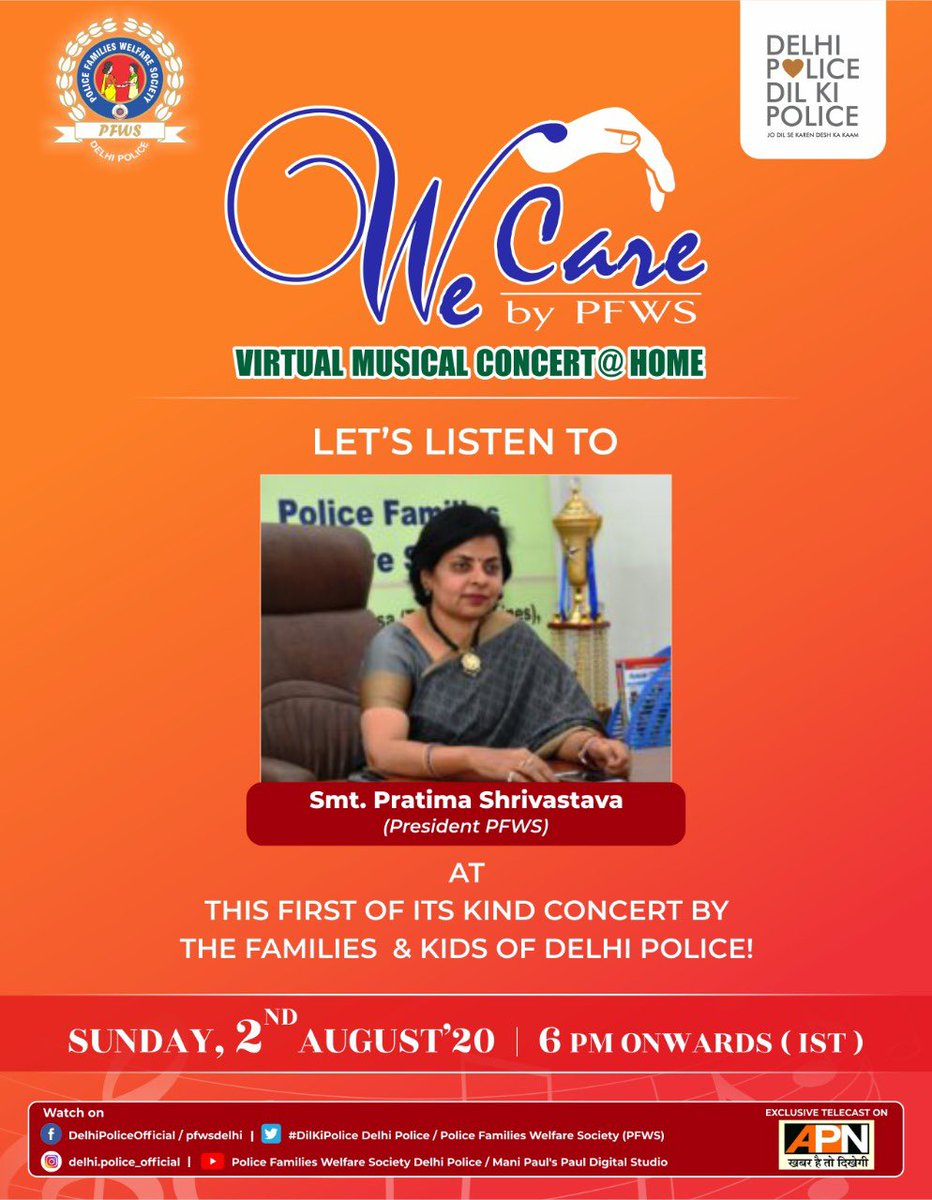"We will have the esteemed President of PFWS, Smt. ""Pratima Shrivastava"" to address the biggest virtual gala today!  The Concert will be streaming LIVE today on the following links at 6 PM  FACEBOOK LINKS- PFWS-  DELHI POLICE-"