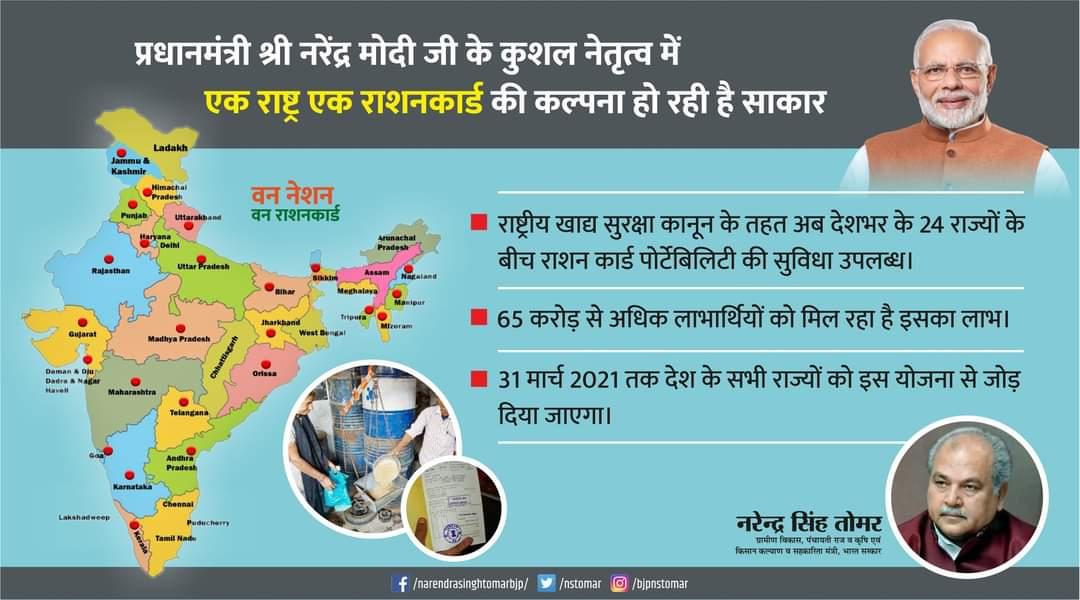 प्रधानमंत्री श्री @narendramodi जी के कुशल नेतृत्व में #वन_नेशन_वन_राशनकार्ड की कल्पना हो रही है साकार...  - राष्ट्रीय खाद्य सुरक्षा कानून के तहत अब देशभर के 24 राज्यों के बीच राशन कार्ड पोर्टेबिलिटी की सुविधा उपलब्ध।  #OneNationOneRationCard