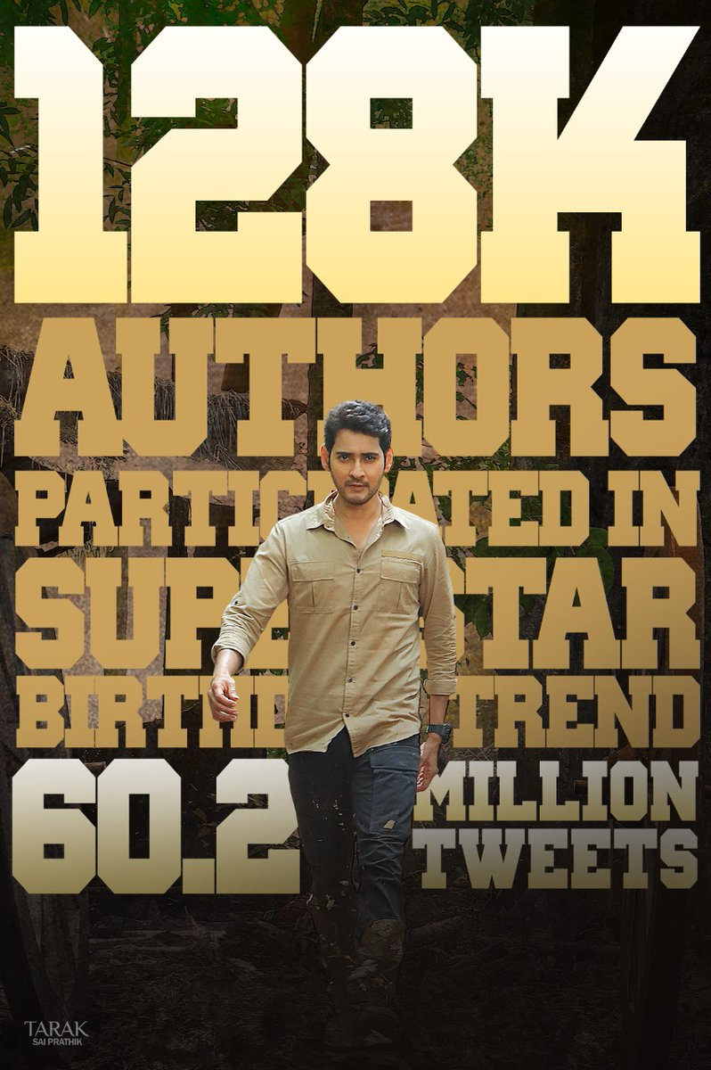 #MaheshBabu fans makes this birthday memorable for Superstar   Broke all the records in style and registered 60.2 million tweets with the hashtag #HBDMaheshBabu. Biggest World Record 💥  Over 1.28 lakh people participated in the trend which is also a New Record  @urstrulyMahesh