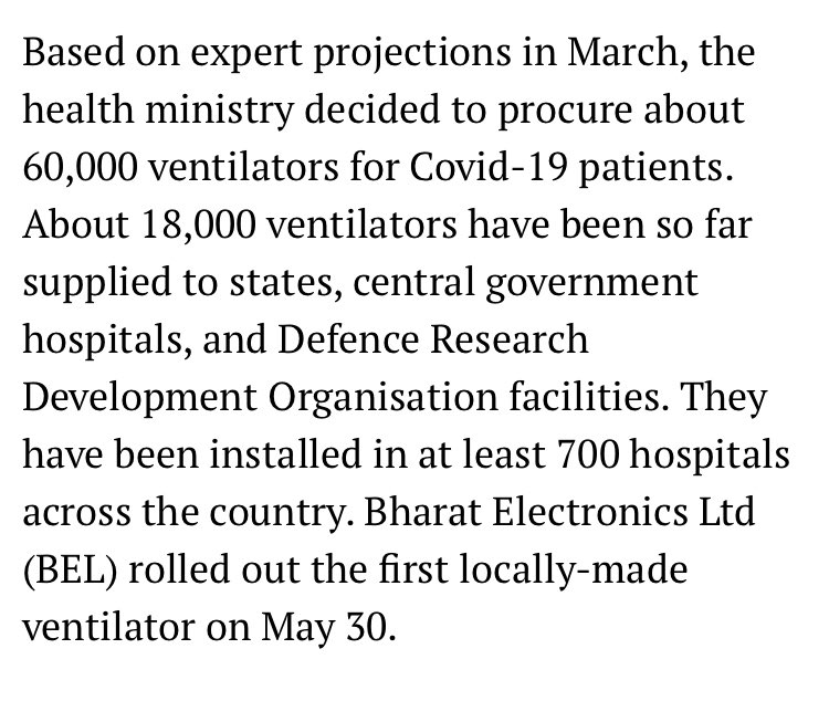 """From the above article dated 6th August:  """"ONLY 18,000 ventilators delivered"""".   JP Nadda & BJP have perfectly mastered the art of lying by learning from Modi."""