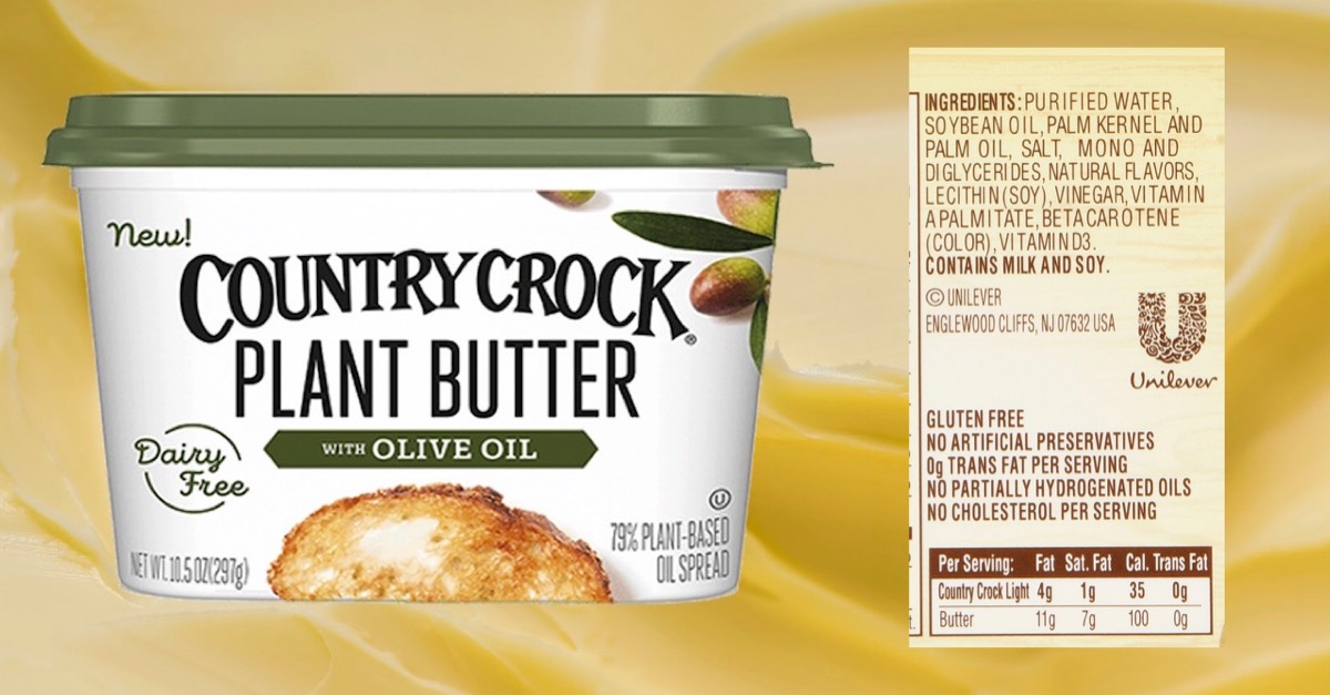 "FALSE ADVERTISING keeps people sick. ""Plant Butter"" -new term for MARGARINE ""With Olive Oil"" -means it's made with Olive Oil?  No SOYBEAN OIL is what this Margarine is made of. They added a drop of Olive Oil... ""New!"" -same sh*t since 1910 #falseadvertising by @unileverusa"