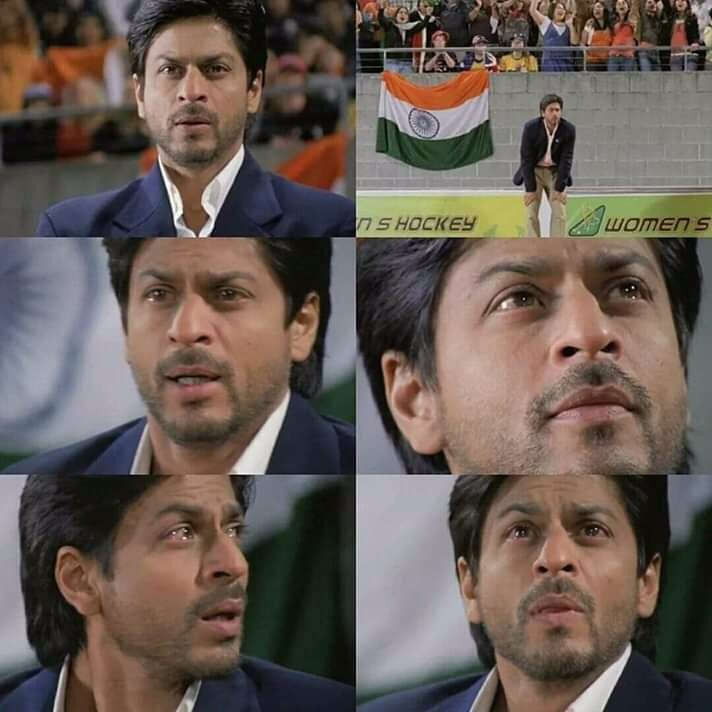 Words fall short to describe the awesomeness of SRK in this scene.  RT if you agree.    #13YearsOfEpicChakDeIndia