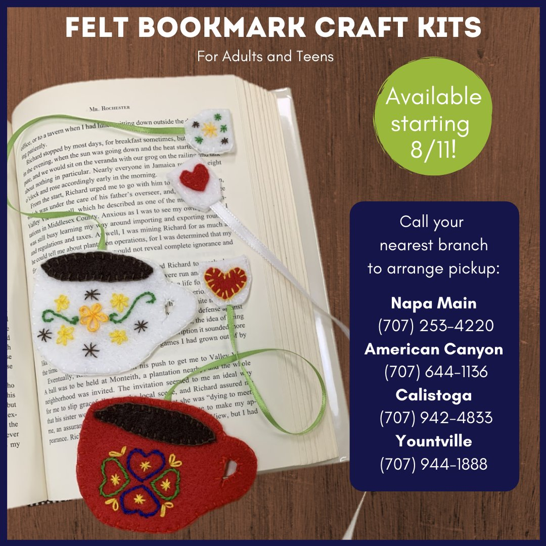 Announcing the first take-and-make craft kits for teens and adults! The Felt Bookmark craft kits will be available for pickup starting Tuesday 8/11, while supplies last.  #napalibrary #starthere #crafts #diy #bookmarks #diybookmark