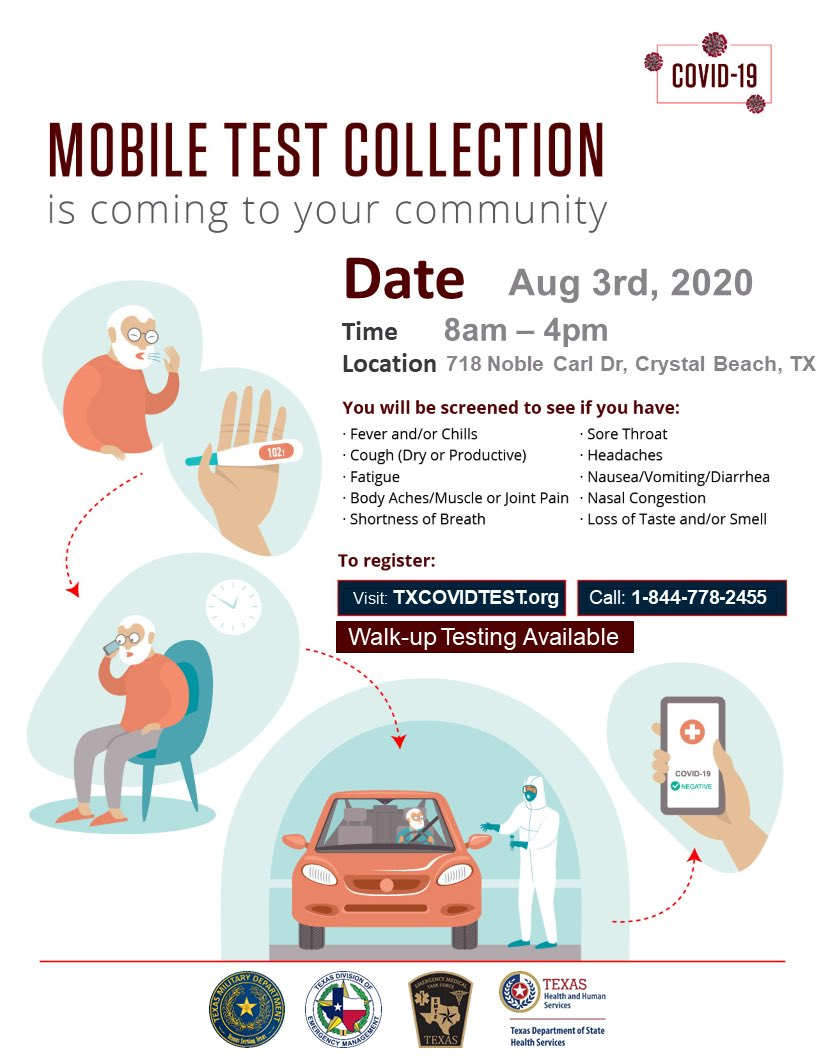 The State of Texas is sponsoring FREE COVID testing tomorrow, Aug  3rd, on Bolivar at ESD-2. To register, visit  or call 844-778-2455 ⁦@PeninsulaOf⁩ ⁦@BolivarTourism⁩ ⁦@TDEM⁩ ⁦@TexasDSHS⁩ #GalvCoPrepares #StoptheSpread
