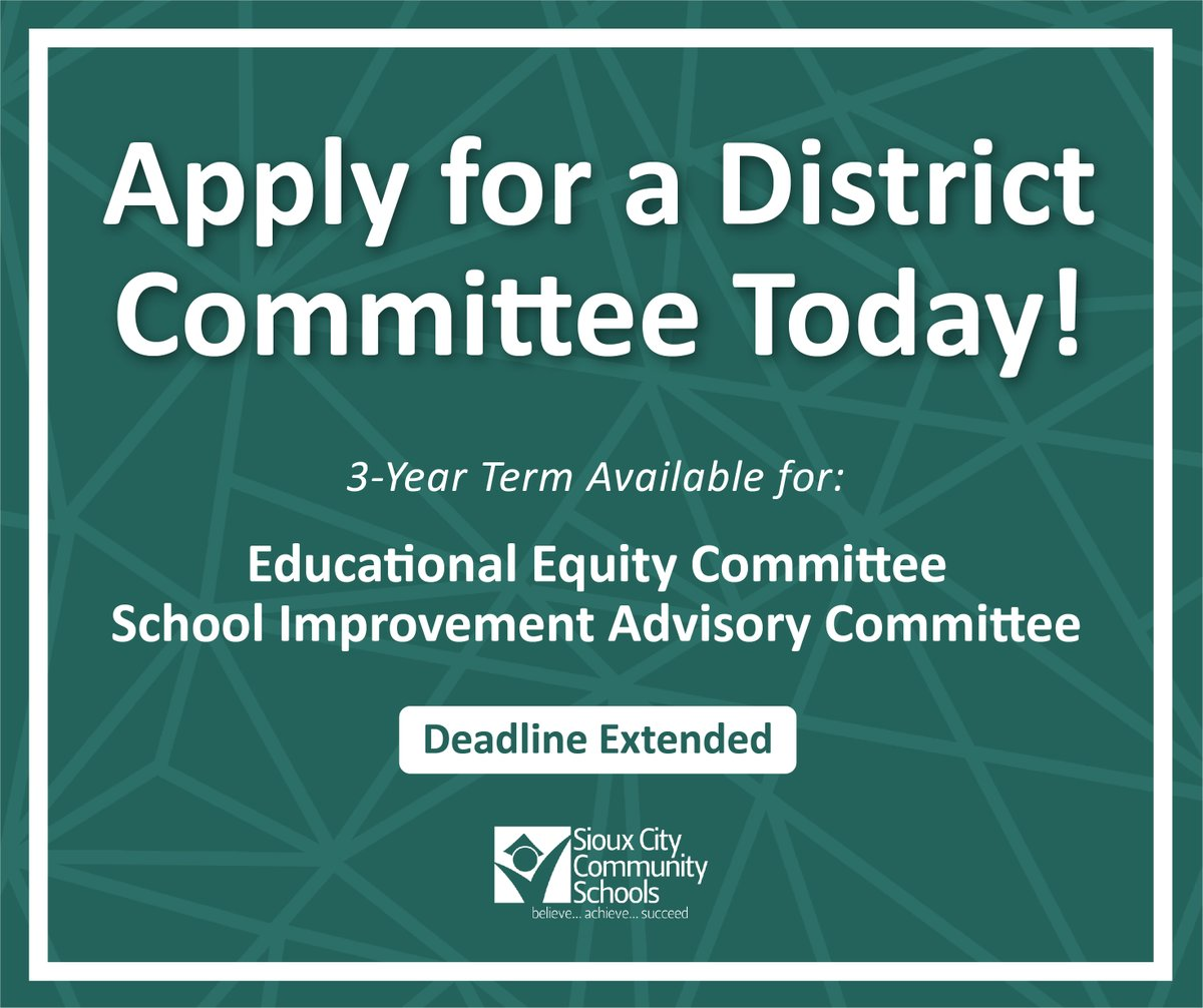 Committee applications have been extended! The #SCCSD Board is seeking citizens to serve a three-year term on the School Improvement Advisory Committee and the Educational Equity Committee. Apply online by August 10th. .