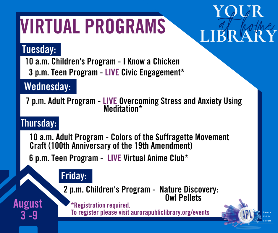 Chickens and owls and Anime--OH MY!  Fly into our fun-filled lineup of amazing virtual programming this week.  Register for programs and check out upcoming events at   #APLibraryIL #YourLibraryAtHome
