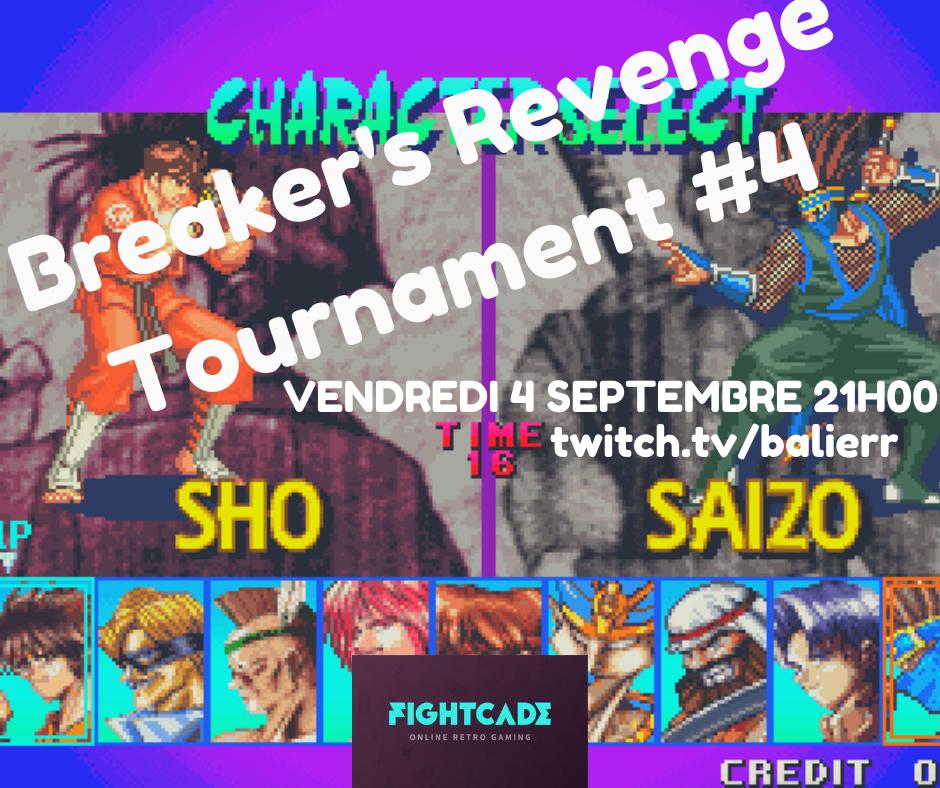 Wopé, notre Classement Online Européen Breaker's Revenge revient le 4 septembre 21h00 sur Fightcade 2. Pour vous inscrire :  Le stream sera assuré par mes soins :   Le Team vs Team sera le vendredi 18 septembre 21h00.