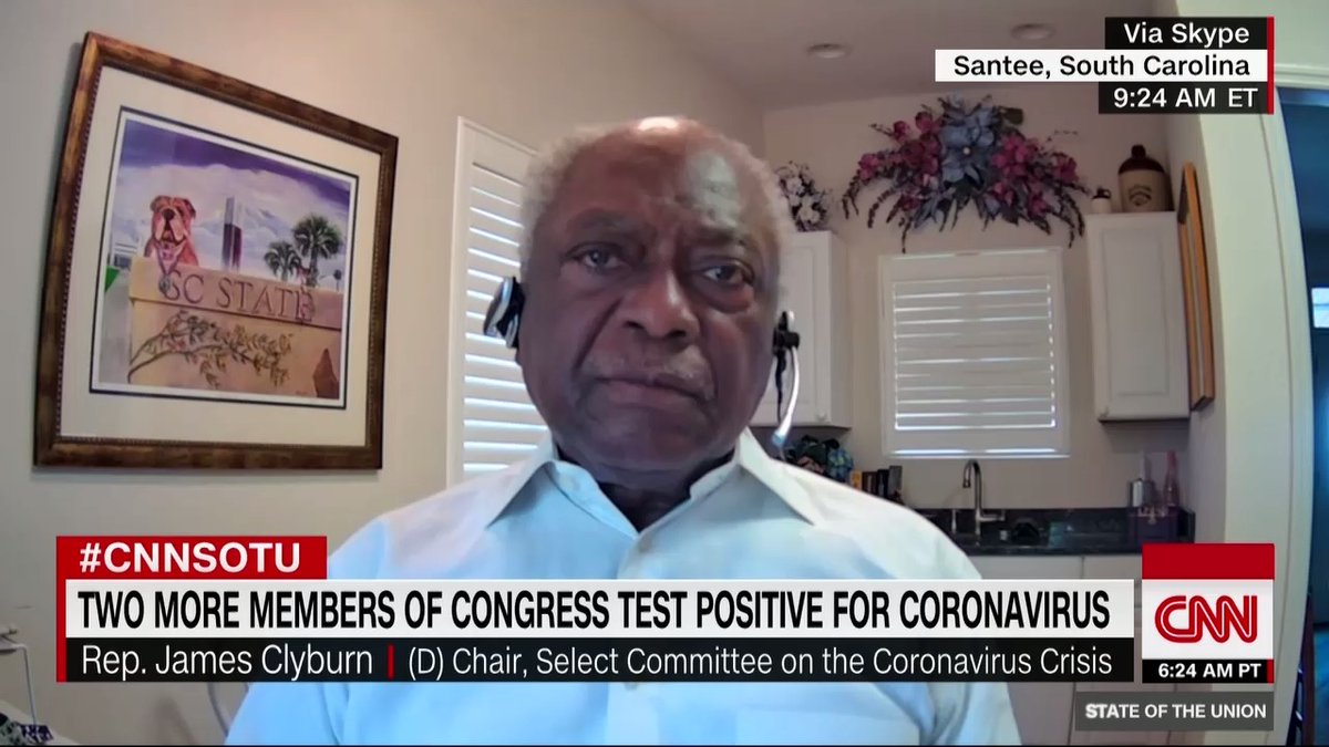 """""""I don't think he plans to leave the White House. He doesn't plan to have fair and unfettered elections. I believe that he plans to install himself in some kind of emergency way to continue to hold onto office,"""" Democratic Rep. James Clyburn says about Pres. Trump. #CNNSOTU"""