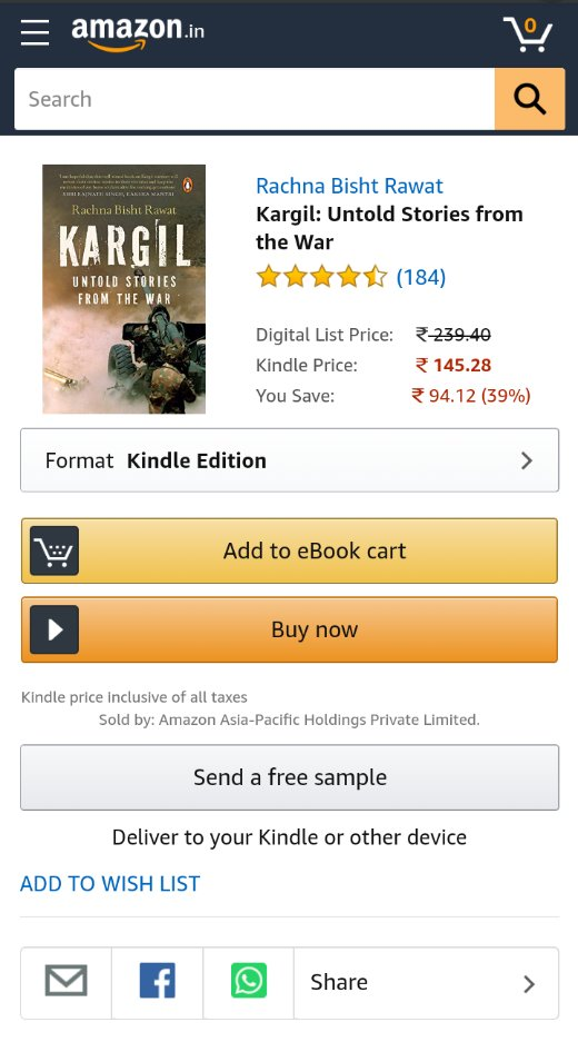 """@sheetalshetty33 @kamaalrkhan If you really want to know about the life of anyone, read the books that are written on their lives or explore the internet, not the movies. For ex. read """"Calling Sehmat"""" then watch """"RAAZI' you will realise how bollywood works. Here is the book on Gunjan."""