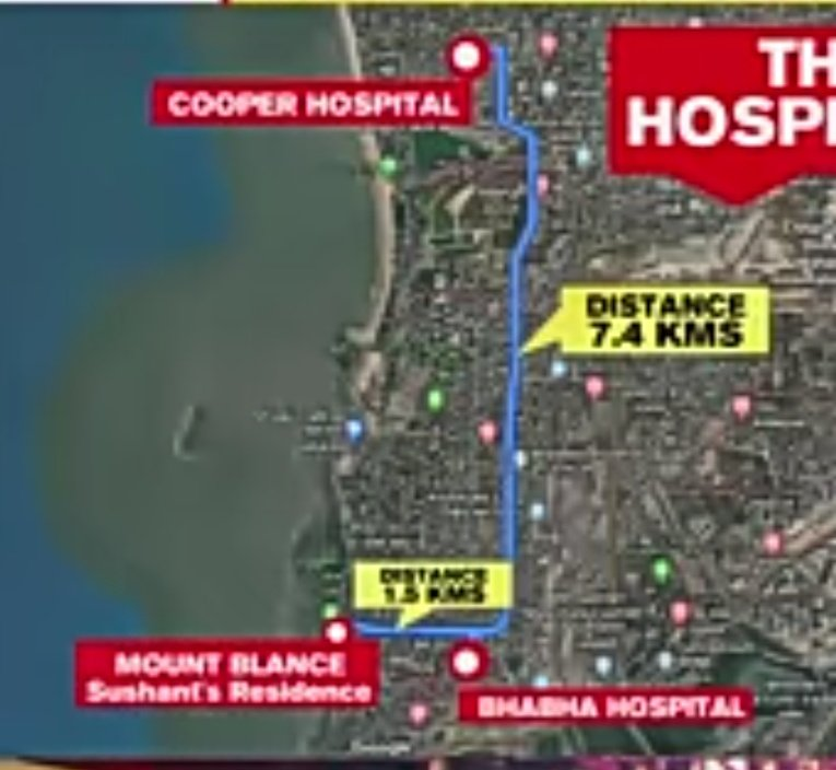 Guys let us focus on Sandeep Singh and his statements...acc to Smita (family friend)Sandeep insisted on taking the body to cooper where as bhabha,a government hospital ws much nearer to SSR house...pics with dist.. PLEASE GO THROUGH THE THREAD @lostsoul_apu #IndiaScreamsCBI4SSR