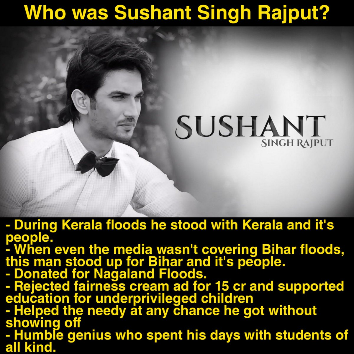 Man with a golden heart. We won't give up until he gets complete justice   #IndiaScreamsCBI4SSR