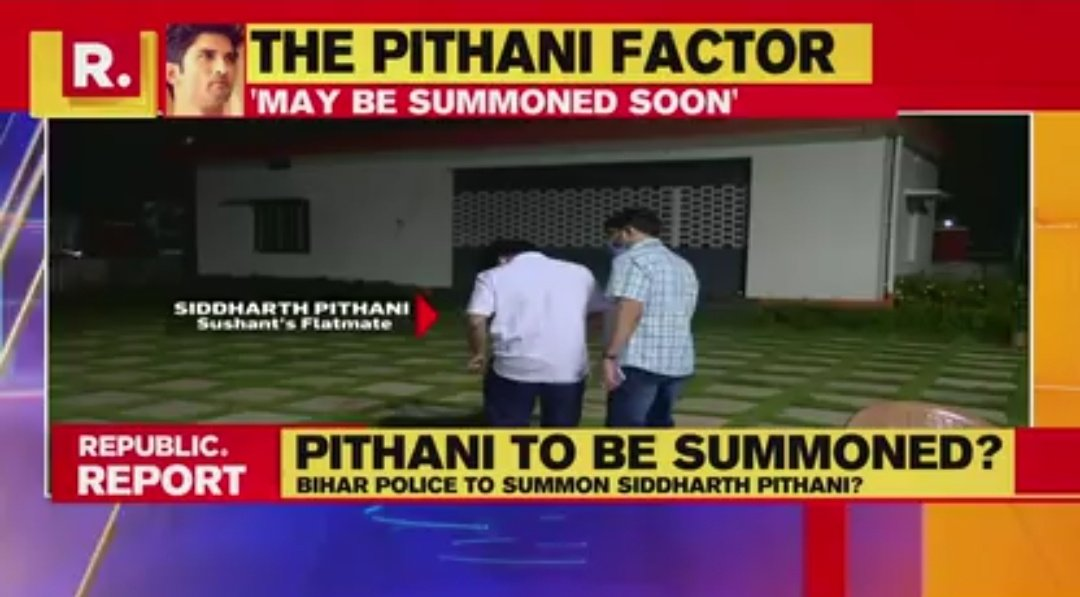 ⚠️ BREAKING !!  • Bihar police likely to summon Sushant's flatmate Siddharth Pithani to join probe !!  • Siddhart Pithani was initially picking up calls of Bihar Police but now he ain't answering any of their calls !! #IndiaScreamsCBI4SSR