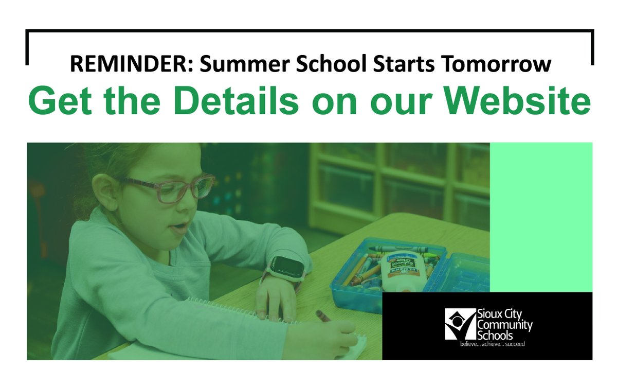 REMINDER: Summer school starts tomorrow. If your child is attending Summer School, please visit our website to review our Summer School Guide, meal information, and transportation details for each school: . #SCCSD