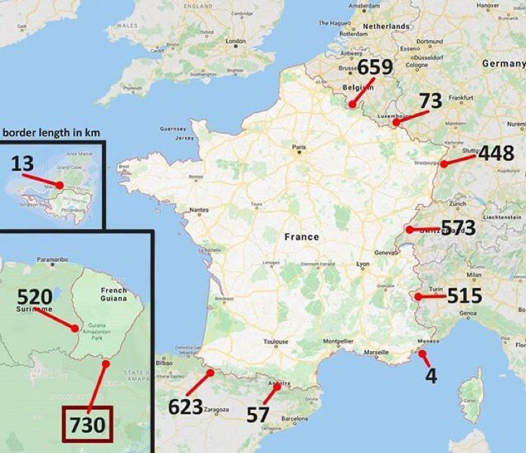 🇫🇷 France's longest border is shared...   with Brazil 🇧🇷