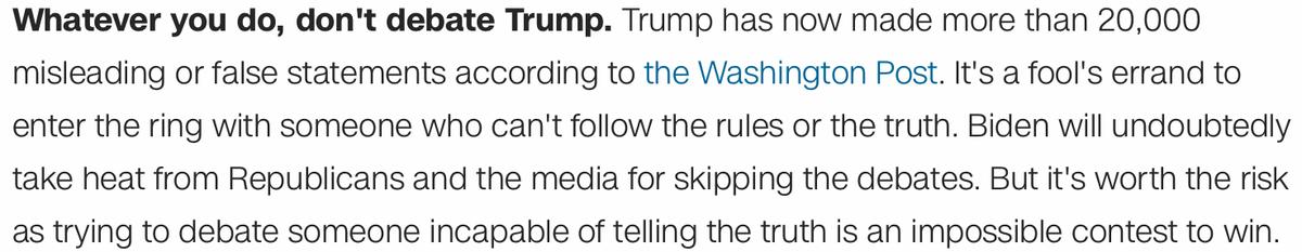 Bill Clinton White House spokesman urges Joe Biden not to debate President Trump.