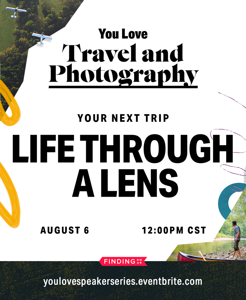 Tune in Thursday, August 6 at noon for a live talk highlighting life through the lens of a photographer!  Sign up at   #NWArk #youlovespeakerseries #visitbentonville #bentonvillear