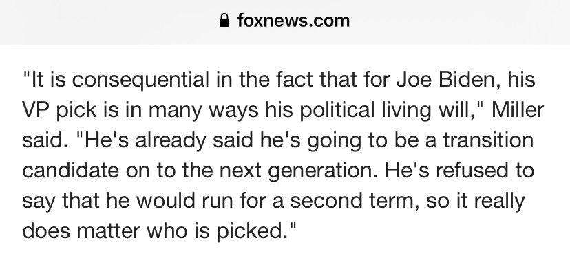 """On @FoxNews this morning, .@JasonMillerinDC made the crucial point that Joe Biden is a self-described """"transition candidate.""""  Given this concession - that he's a placeholder - the pertinent question becomes: a transition to what? (or to whom?)..."""