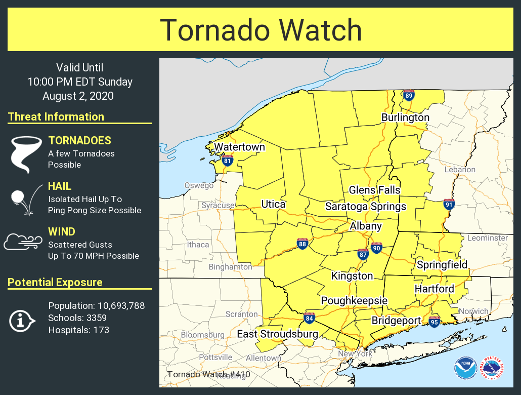 RT @NWSAlbany: A tornado watch has been issued for parts of CT, MA, NJ, NY, PA, VT until 10 PM EDT