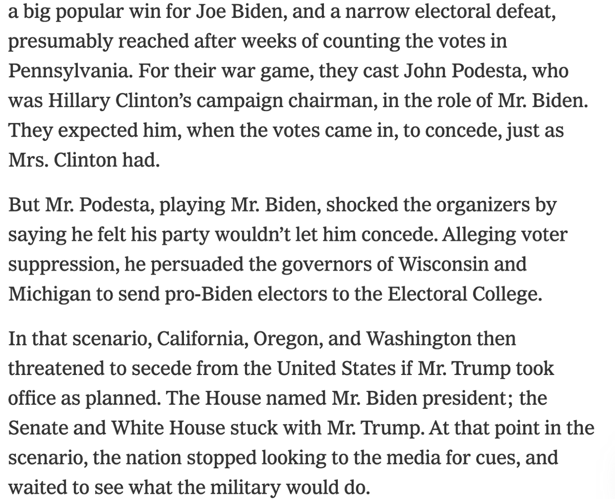 New: John Podesta played Biden in an election war-game, and refused to concede in a scenario that looked a bit like 2016