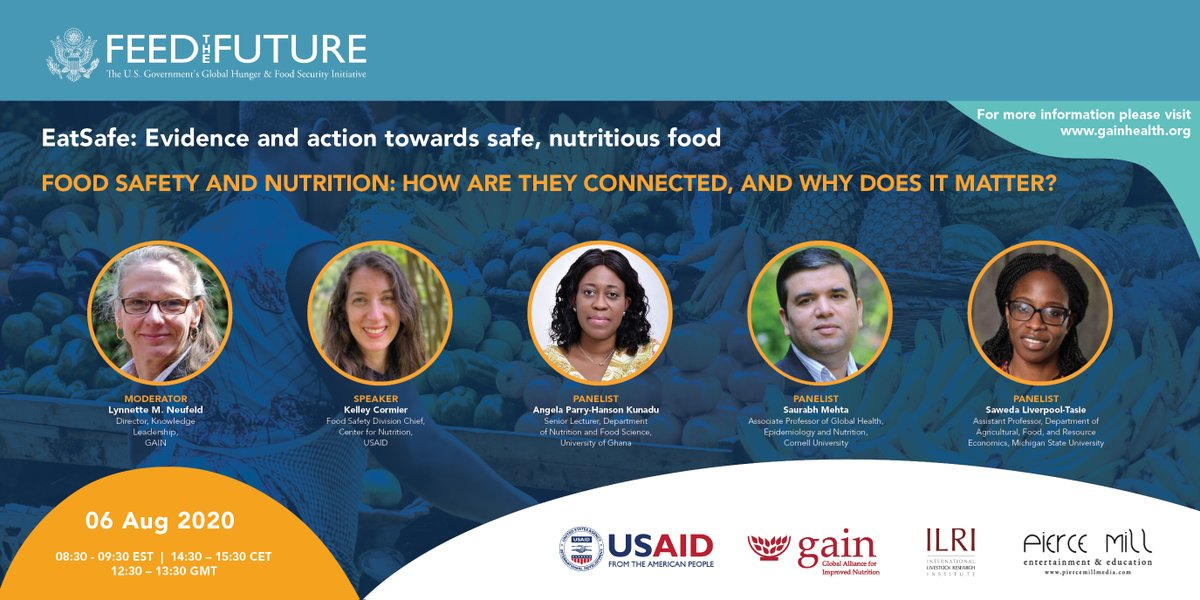 #SaveTheDate | @GAINalliance @USAID & @FeedtheFuture webinar on #FoodSafety & #nutrition, how they are connected & why it matters 🥕🌽🥦  🗓️ 6 August 🕣 8:30 EST 🗣️ @Bonnie_McClaff @CornellCHE @MSUAFRE @SawedaTasie @UniofGhana  💬 #EatSafe  Register here👇