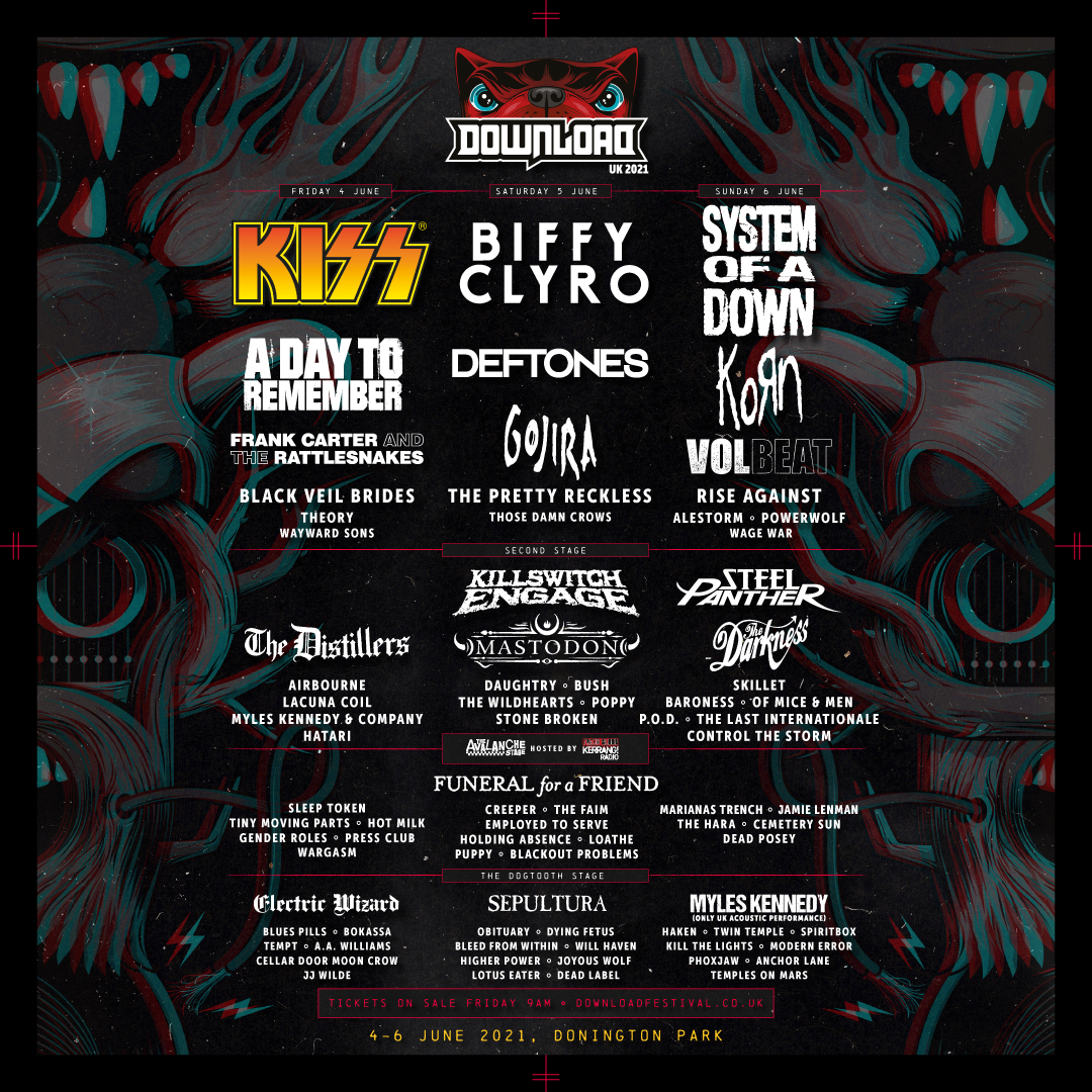 Your first DL2021 lineup announcement has landed, including @kiss, @BiffyClyro, @systemofadown and so much more. After a year apart, we're so ready ROCK with you once again, 4-6 June 2021. Tickets on sale Friday 7 August 9am. 🔥    #DL2021