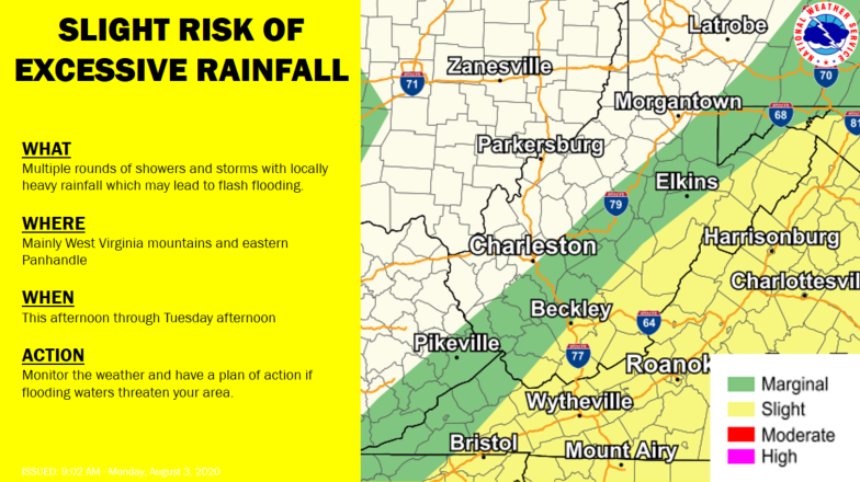 Tropical Storm Isaias will interact with a frontal boundary today and tomorrow.  Heaviest rainfall is expected to occur in the WV mountains and eastern Panhandle.  Severe storms are also possible this afternoon and evening.