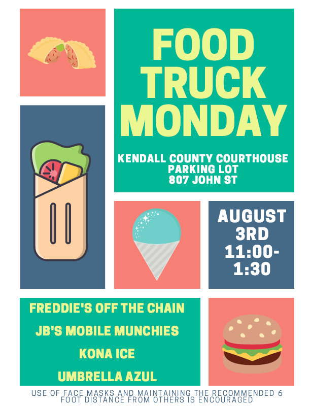Today is the day! Food trucks are back! 🌮🍧🍔  Come check out Freddie's Off The Chain, JB's Mobile Munchies, Umbrella Azul, and our newest addition, Kona Ice, from 11:30-1:00 in the Kendall County Courthouse parking lot.