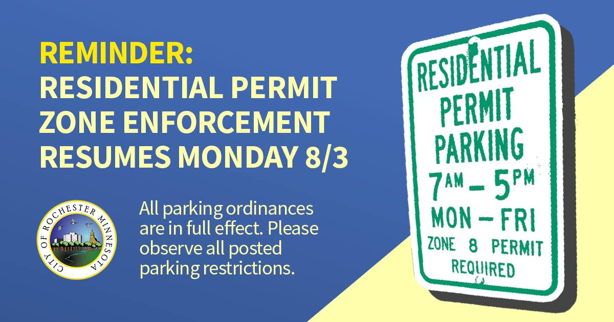 #rochmn a reminder that Residential Permit Zone enforcement resumes TODAY. People who live in one of 14 permit zones can purchase or renew a permit at