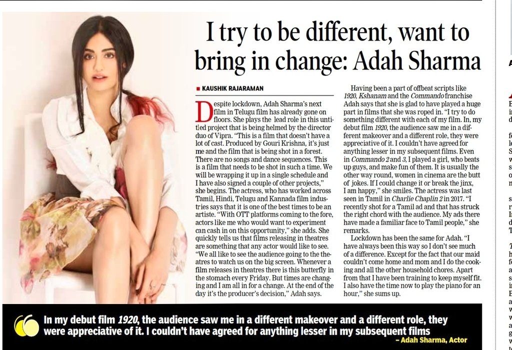 Got to talk to the gorgeous @adah_sharma for #DTNext on her career and her upcoming #Telugu films and how she has connected with the #Tamil audience with TVCs. Thanks Adah for your time :) #adahsharma