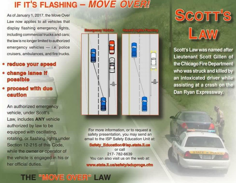 RT @OakBrookPolice: #OBFOE for the week of 8/3 will be for Scott's Law violations. #MoveOver #SlowDown