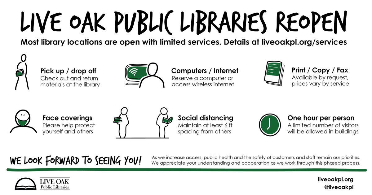 Most Live Oak Public Libraries are open to the public and offering limited services while implementing safety practices. We appreciate your understanding and cooperation. We look forward to welcoming you back to the library! Please see complete details at