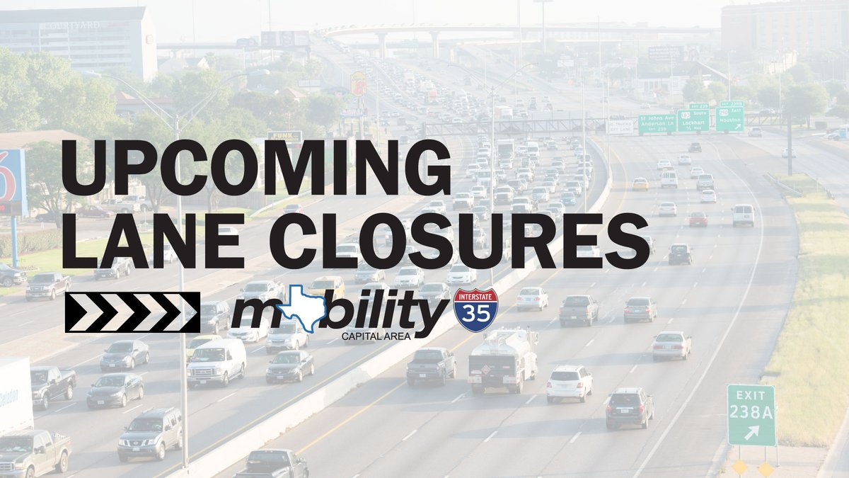 TRAFFIC ALERT: #My35 lane closures 8/1-8/7 include I-35 mainlane closures at Rundberg Lane and Posey Road. Click here for a full closure list:  #ATXtraffic