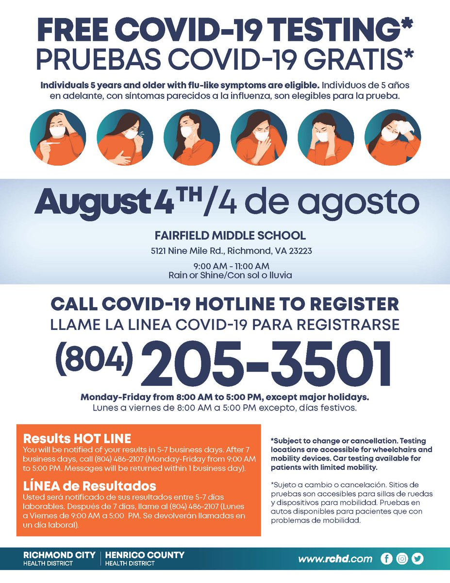 Have you been wondering where to get tested for COVID-19 for FREE? There's a testing option for every Richmonder, regardless of citizen status, insurance or income. This week, call 804-205-3501 to sign up for one of 2 community testing events held by the @RichmondCity_HD.