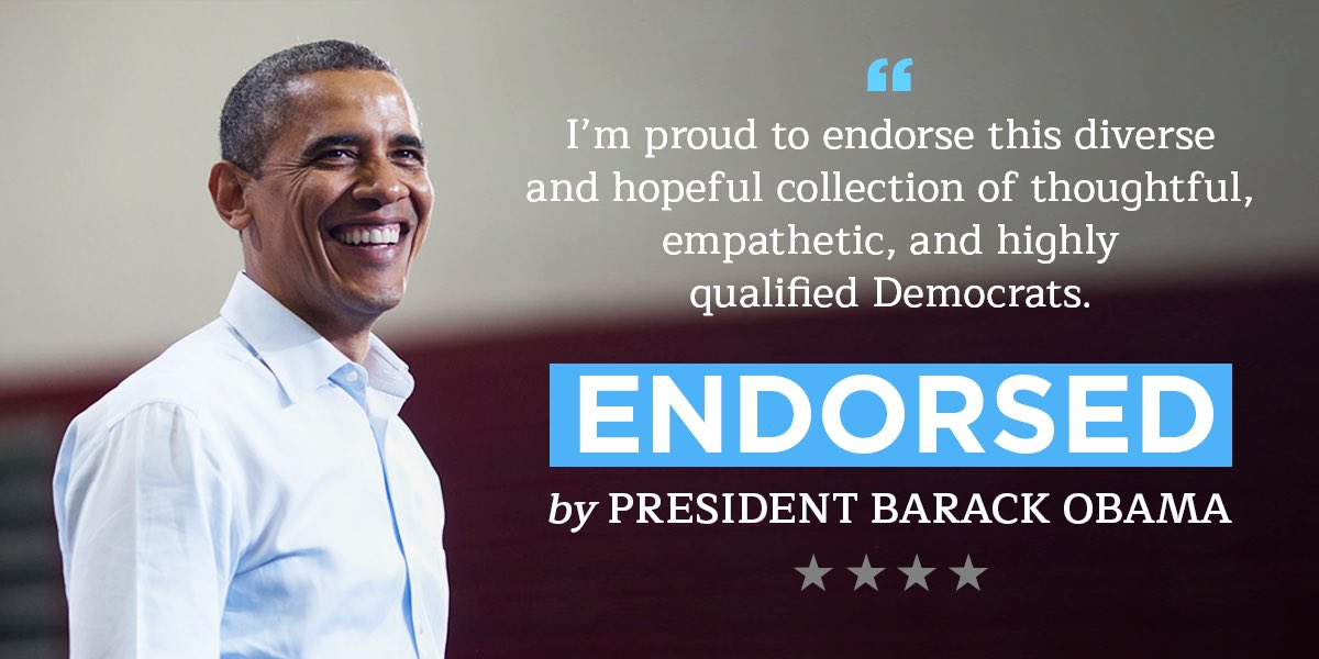 .@BarackObama knows that we need a strong grassroots movement to defend and expand our House majority. I'm thrilled to have his endorsement.