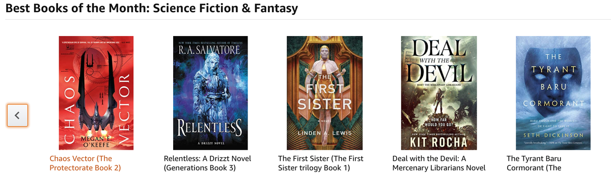 We're excited to kick off August with 4(!) books on 'Best Books: Sci-Fi & Fantasy' by @amazonbooks—CONGRATS to #DealWithTheDevil by @KitRocha, #TheTyrantBaruCormorant by @sethjdickinson, #ByForceAlone by @lavietidhar, & #SorceryofaQueen by @BrianNasl!