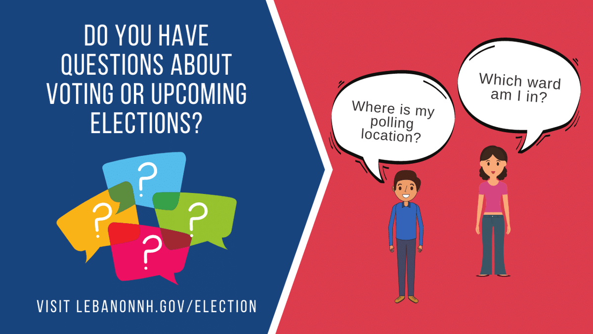 Do you have questions about voting in the upcoming elections? Please visit our Election Information page at  to find answers! Don't forget, the NH State Primary is right around the corner on September 8, 2020.  #LebNH #NHVotes