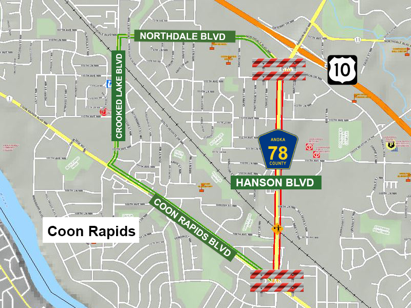NOTICE: Hanson Blvd (CR 78) in @coonrapidsgov will be CLOSED Tuesday, Aug. 4 from 12-4:30p for an event. Please follow posted detour using Northdale Blvd/Crooked Lake Blvd/Coon Rapids Blvd.