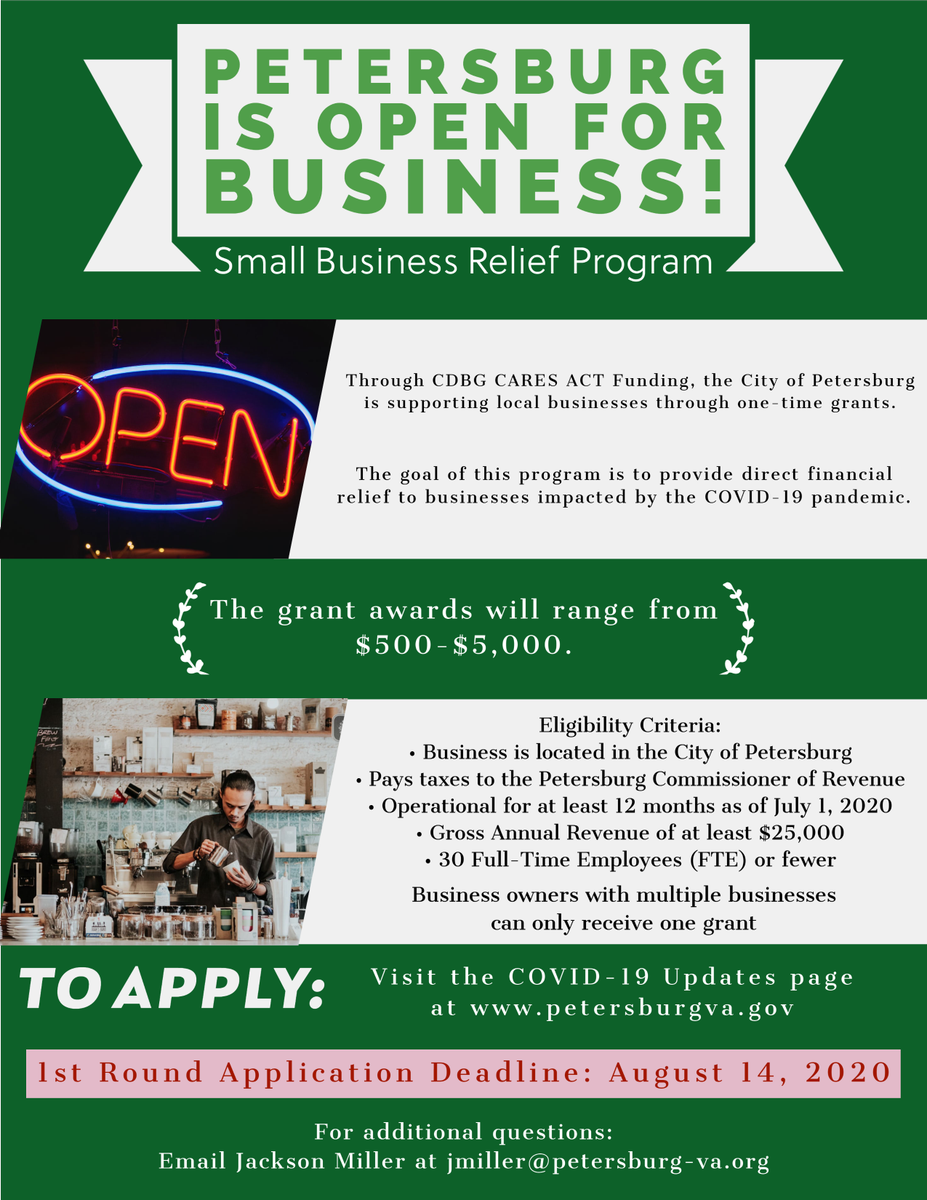 Petersburg City Council has approved the COVID-19 small business grant program providing need-based aid (between $500 to $5,000) to local businesses impacted by COVID-19.  More Info:  Apply Here:   @cocpetersburg