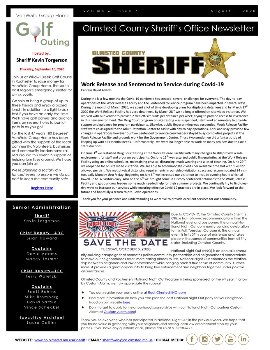 Happy Monday! Have a great and safe day, everyone.   Attached you will find the August 2020 edition of the Olmsted County Sheriff's Office Newsletter.  View Online:   #OlmstedCounty #Minnesota