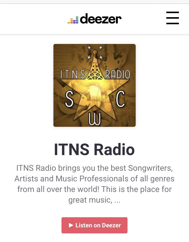 Listen to ITNS Radio on Deezer.   Send your music to itnsradio@yahoo.com    Check out all we do @  www.