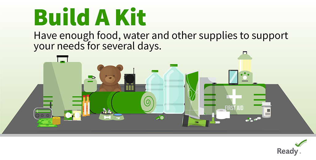 Be prepared for any disaster with an emergency kit. Consider these items: 🥫 At least a 3 day supply of food & water 💊 First aid kit & medications 💵 Emergency cash 📻 NOAA weather radio 😷 Cloth face covering  Visit: