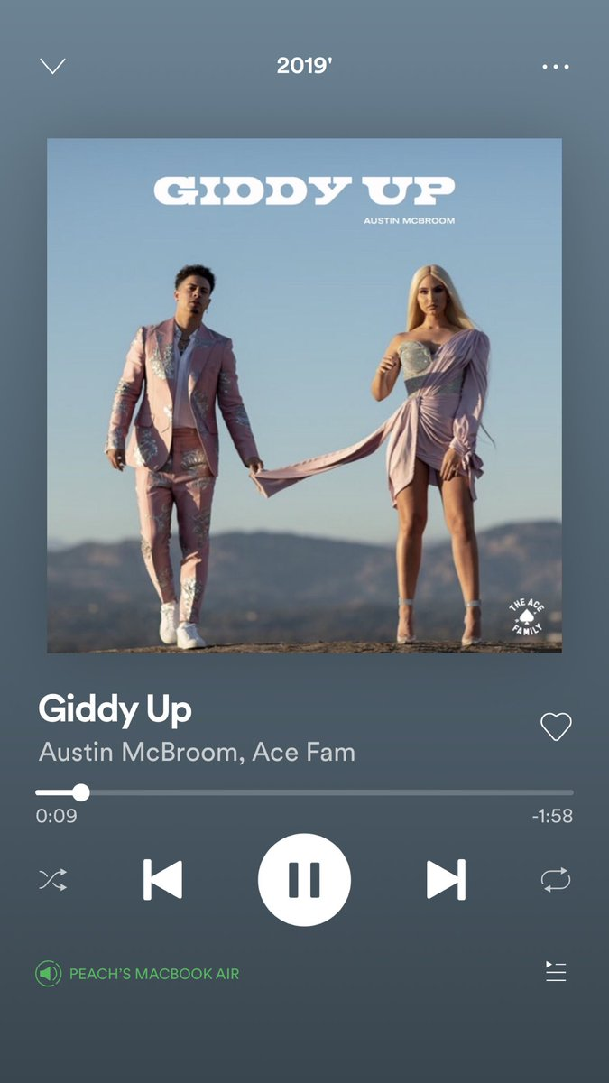 This song still bangs!!😍😍@AustinMcbroom @CatherinePaiz #giddyup #acefamily #spotify