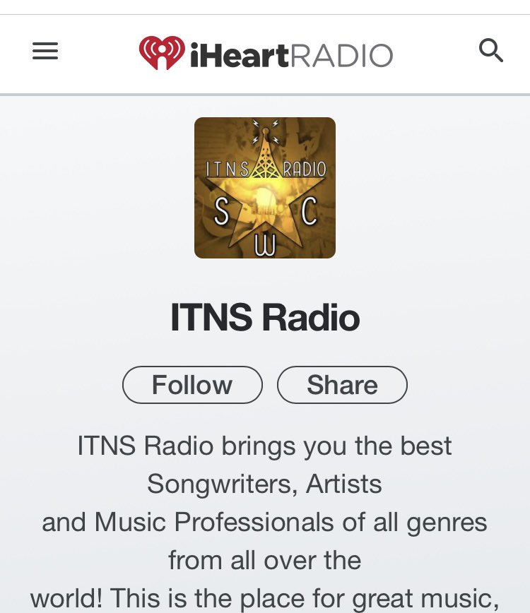 Listen to ITNS Radio on iHeartRadio.     Send your music to itnsradio@yahoo.com  Check out all we do on www.