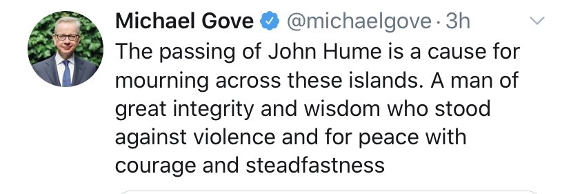 Good Friday Agreement was capitulation to IRA by Tony Blair. IRA could have been defeated if security forces not held back -Michael Gove 2000  -Michael Gove today: