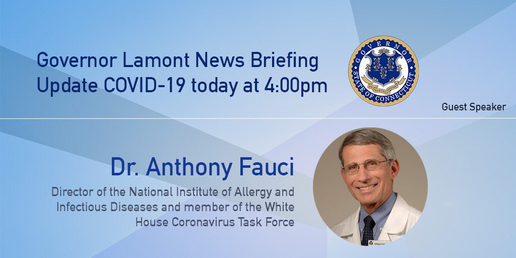 I appreciate Dr. Fauci for accepting my invitation to join us today for our COVID-19 news briefing to discuss the effects of the virus around the country and its impact on Connecticut. We'll be getting started at 4PM.  Watch live:
