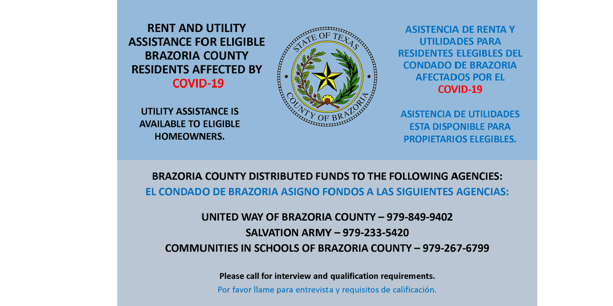 Mortgage/Rent and Utility assistance is available for eligible residents affected by #COVID19.  #StaySafeBC @uwbrazoriaco @cistexasjointv1 @SalvationArmyTX