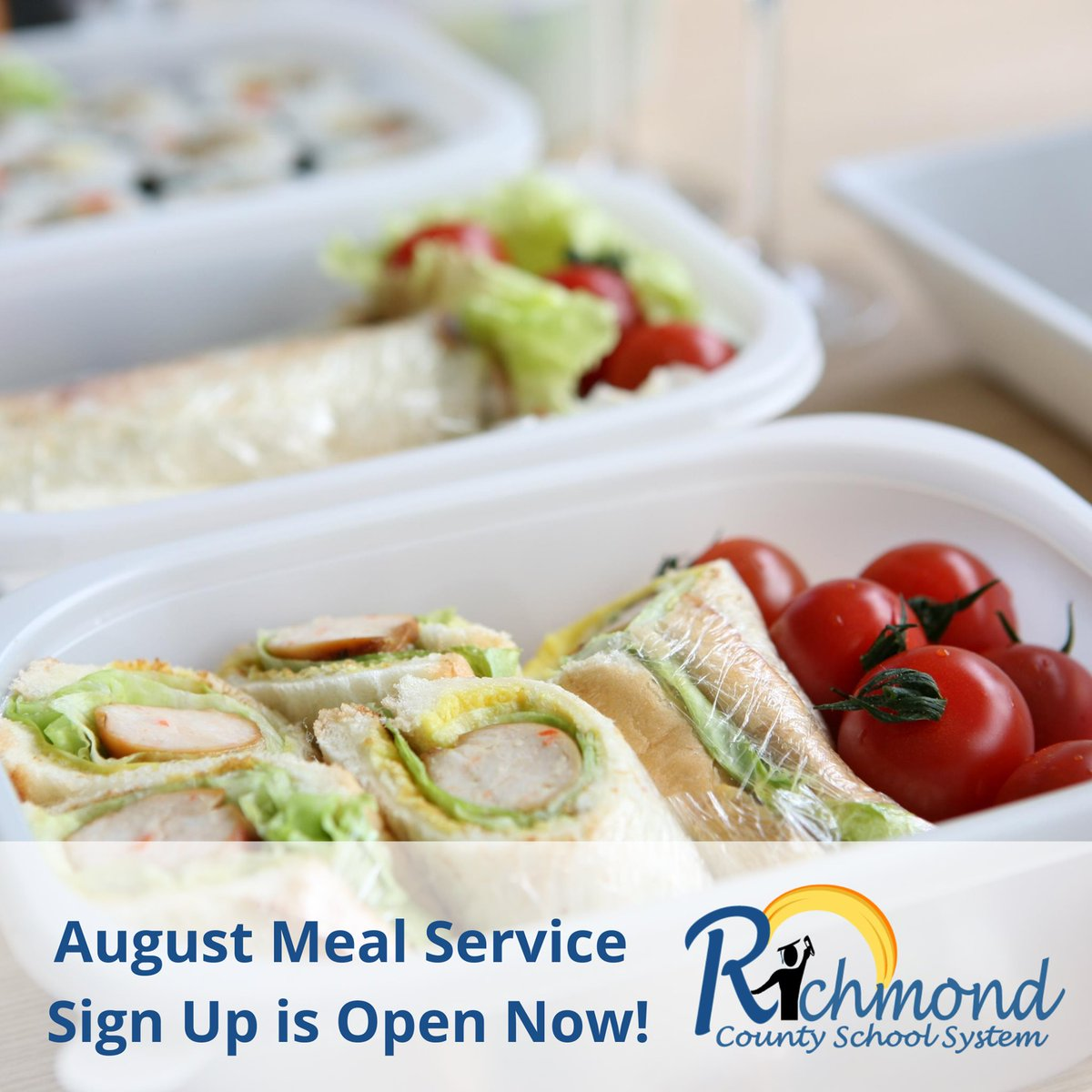 RCSS Families! Our August meal program starts August 7. Meals will be distributed every Tuesday and every Friday from August 7 - August 28.  If you haven't done so, make sure to sign up for our school pick-up or school bus stop, delivery services!