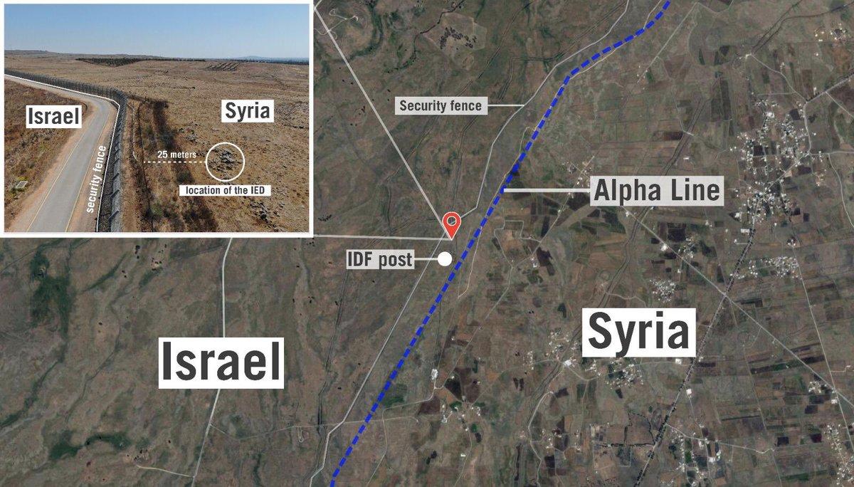 Un sac contenant des explosifs ont été trouvés à quelques mètres de la clôture de sécurité entre #Israël et la #Syrie.   Hier soir, 4 terroristes ont tenté de les utiliser. Nous les avons arrêtés avant qu'ils puissent le faire.   Nous ne tolèrerons aucun dommage à Israël.