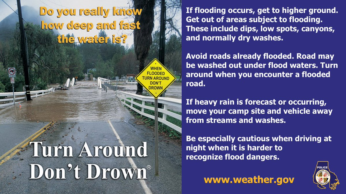 With heavy rain in the forecast from #Isaias it's important for drivers to be aware of the potential for flooded roads. If you see water in the road, do not drive through it. Follow @NWS_BaltWash and @MDMEMA for updates on storm conditions. #TurnAroundDontDrown ^NL
