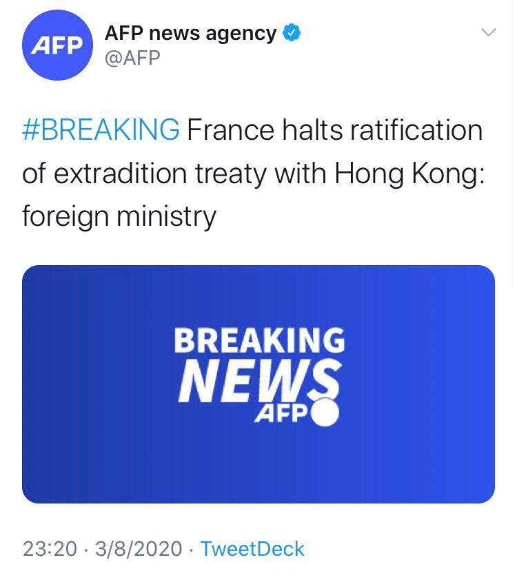 BREAKING: France has joined the U.S., the U.K., Germany, Canada, Australia & New Zealand in suspending Extradition Agreement with Hong Kong.  #StandWithHK